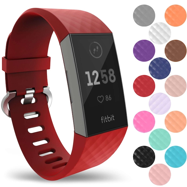 YouSave Activity Tracker Silicone Sports Strap - Red (Small)