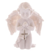 Praying Cherub Holding Jewelled Silver Cross (Pack Of 4) Figurine