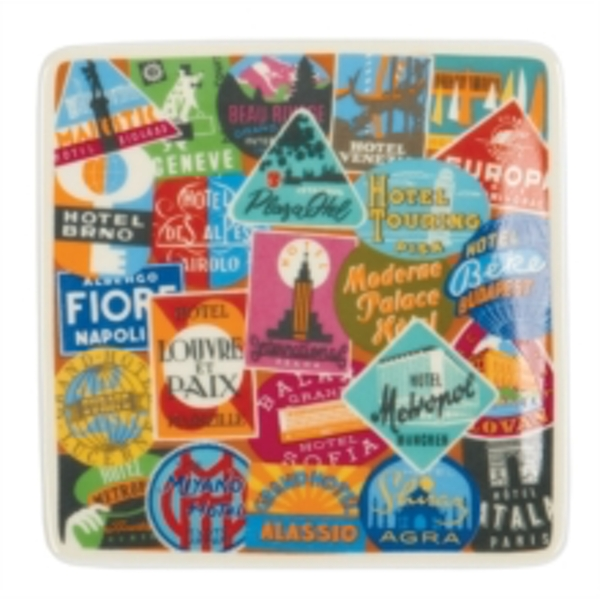 Vintage Travel Labels Square Poreclain Tray : A Guide to Frank Lloyd Wright Public Places