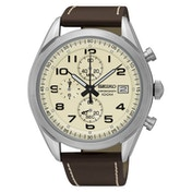 Seiko SSB273P1  Analogue Quartz Stainless Steel Watch with Beige Dial & Leather Belt