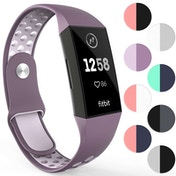 YouSave Silicone Sports Straps - Small - Purple & Light Purple compatible with FitBit Charge 3