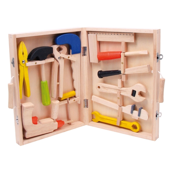 LEGLER Small Foot Children's Toy Toolbox, 13 Piece Wooden Tool Kit