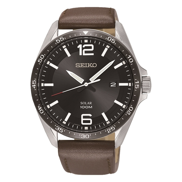 Mens Solar Powered Watch with Black Dial & Brown Leather Strap