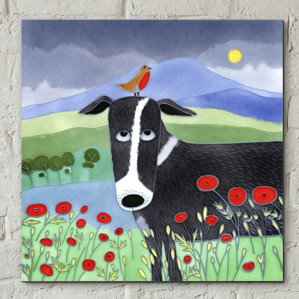 Tile 8x8 Bird On The Bonce By Ailsa Black Wall Art