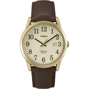 Timex TW2P75800 Mens Easy Reader Watch with Gold-Tone Case & Brown Leather Strap