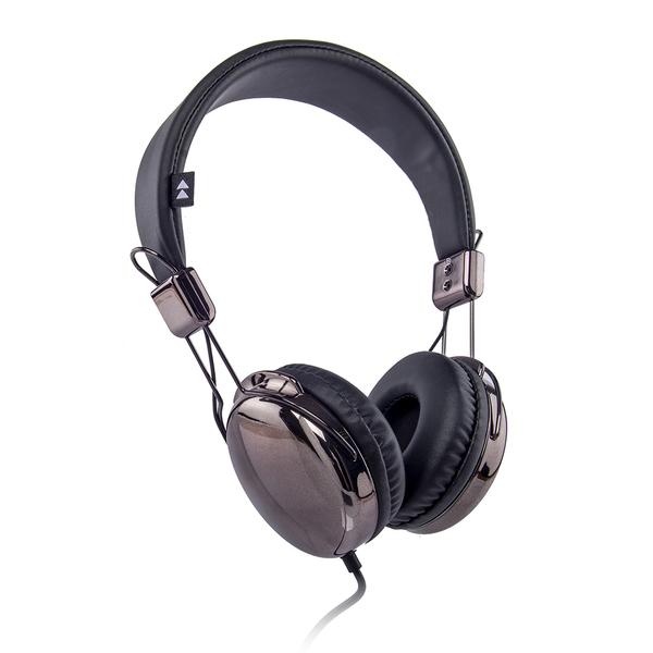 Groov-e FLASH-ON-DGB Flash-On Metallic Headphones - Titanium/Black