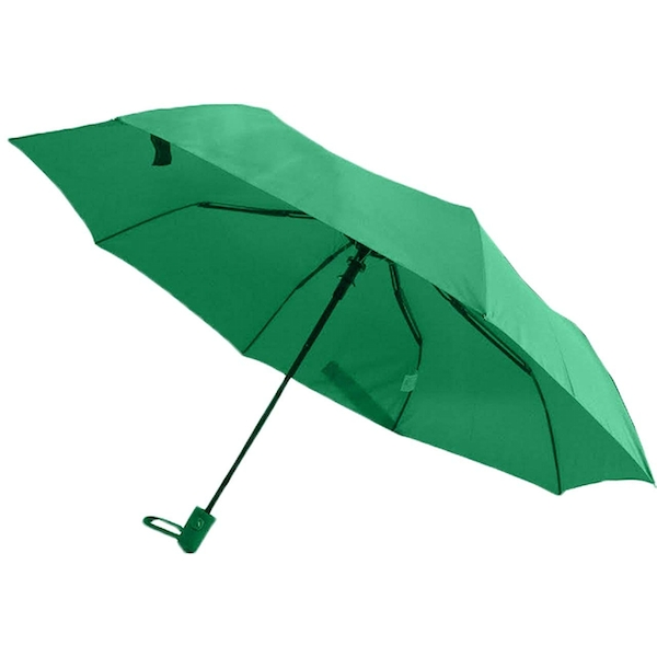 Italia Versace Deluxe Folding Compact Umbrella with Carrying Pouch - Green
