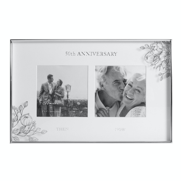 """4"""" x 4"""" - AMORE BY JULIANA Floral Double Frame - 50 Years"""