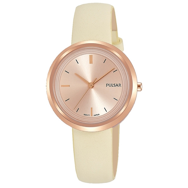 Pulsar PH8394X1 Ladies Cream Leather Strap Rose Gold Case And Dial 50M Watch