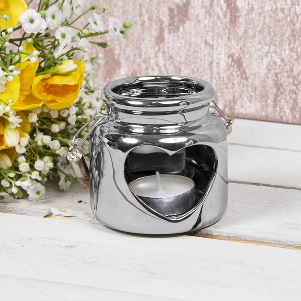Heart Ceramic Candle Holder Silver 8Cm By Lesser & Pavey