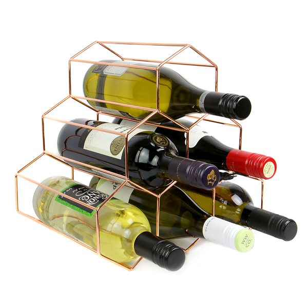 6 Bottle Rose Gold Wine Rack | M&W - Image 1
