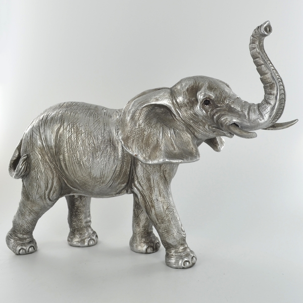 Antique Silver Elephant Standing Ornament