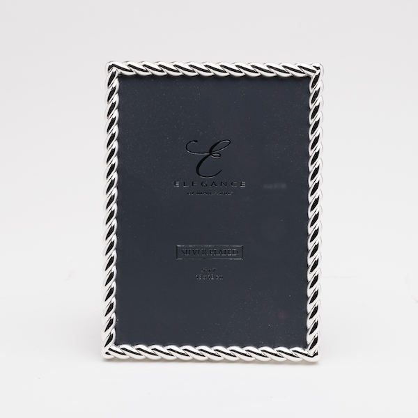 """5"""" x 7"""" - Elegance Silver Plated Rope Twist Photo Frame"""