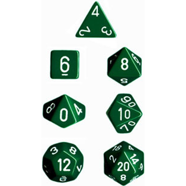 Chessex Opaque Poly 7 Dice Set - Green/White