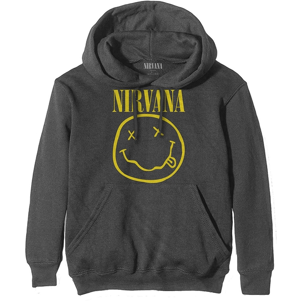 Image of Nirvana - Yellow Smiley Unisex Large Pullover Hoodie - Grey