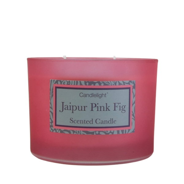Jaipur Pink Fig 2 Wick glass filled Pot Candle Pear and Fig Scent