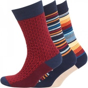 Firetrap 3 Pack Red Navy & Stone Socks UK Size 6-11