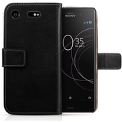 Sony Xperia XZ1 Real Leather Wallet Case with ID Slots - Black