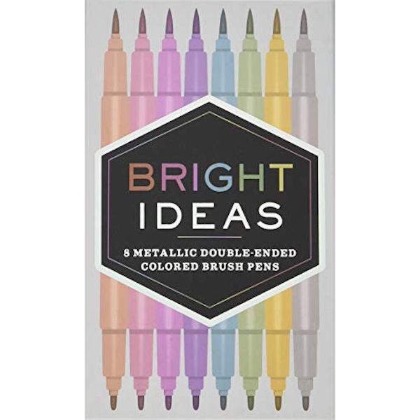 Bright Ideas: 8 Metallic Double-Ended Colored Brush Pens 8 Colored Pens General merchandise 2017
