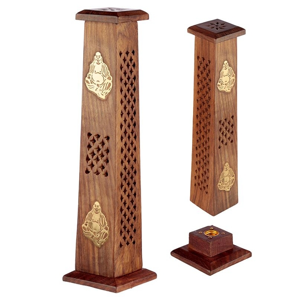 Decorative Buddha Sheesham Wood Incense Burner Tower