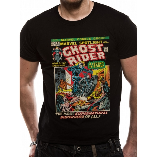 Marvel Comics - Ghostrider Comic Cover Men's Large T-Shirt - Black