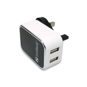Sandberg 3-pin Plug USB Charger UK Plug