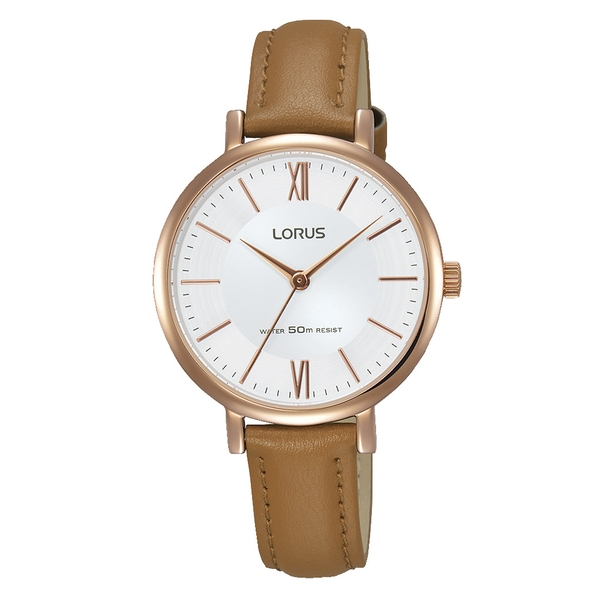Lorus RG262LX9 Ladies Elegant Camel Brown Leather Strap Watch with Rose Gold Plated Case