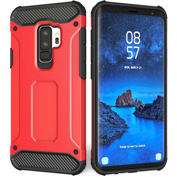 detailed look bb03b e241d Samsung Galaxy S9 Plus Armoured Shockproof Carbon Case - Red