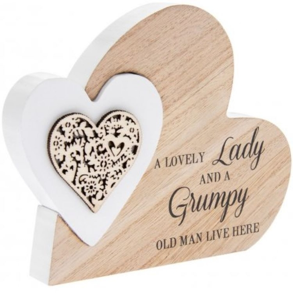 Sentiments Double Heart Side Block - Lovely Lady and Grumpy Man