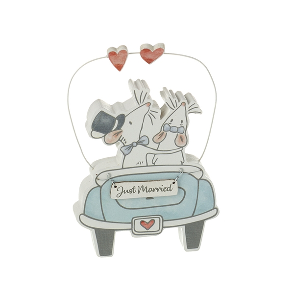 Just Married Mice In Car Wood Shelf Decoration Wedding Keepsake Gift By Heaven Sends