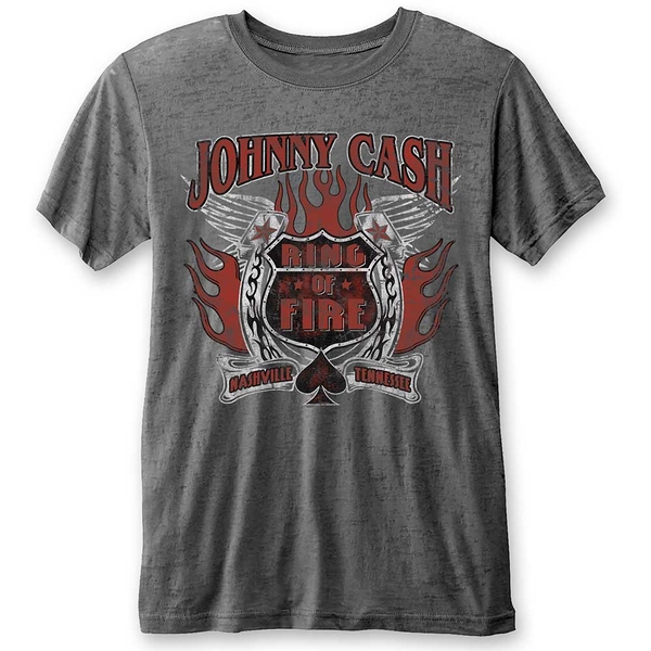 Johnny Cash - Ring of Fire Unisex Large T-Shirt - Grey