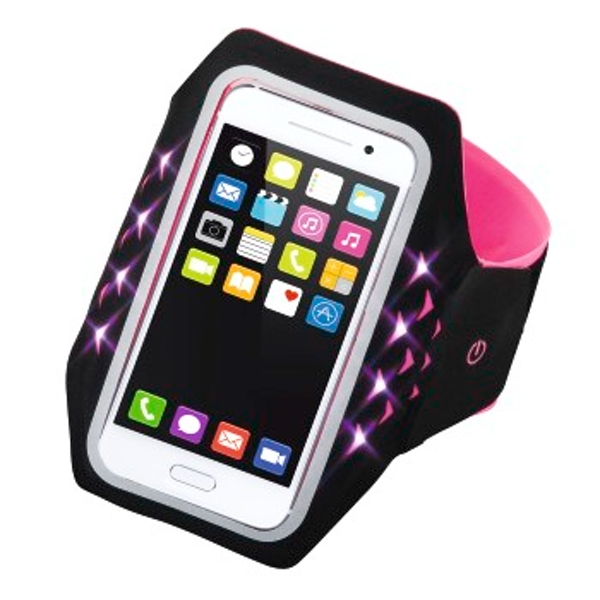 "Hama ""Running"" Sports Arm Band for Smartphone, Size XL, with LED, pink"