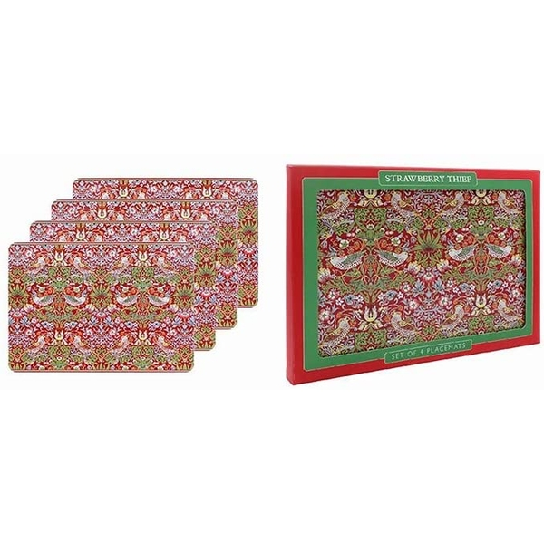 William Morris Strawberry Thief Red Set Of 4 Placemats By Lesser & Pavey