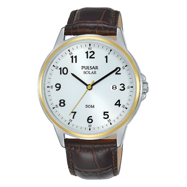 Pulsar PX3198X1 Mens Classic Solar Leather Strap  Two Tone Case Brown Leathr Strap Watch