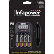 INFAPOWER 1-Hour Charger UK Plug + AA 2700MAH NI-MH Rechargeable Batteries (4-Pack) C006