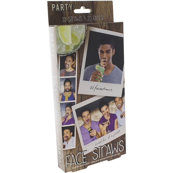 Face Straws Double Sided Realistic (Pack Of 10)