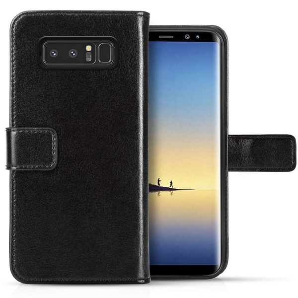 Samsung Galaxy Note 8 Real Leather Wallet with ID Slots - Black