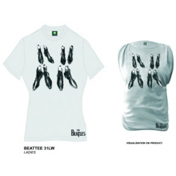 The Beatles Boots Dirty White Oil Washed Ladies T Shirt: X