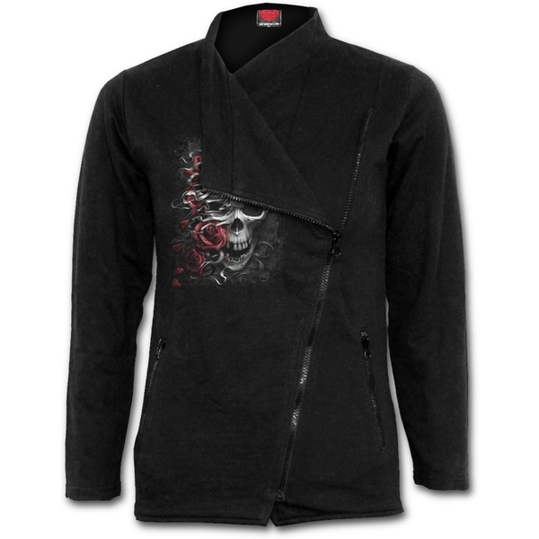 Skulls N' Roses Women's X-Large Slant Zip Biker Jacket - Black