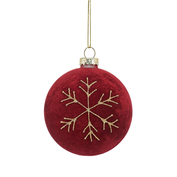 Sass & Belle Red Flocked Bauble with Snowflake