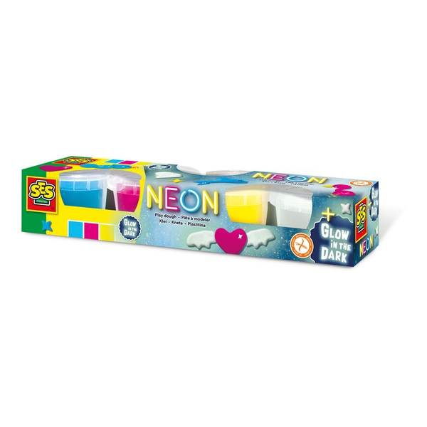 SES Creative - Children's Modelling Dough Neon and Glow-in-the Dark Set 4 Pots (Multi-colour)