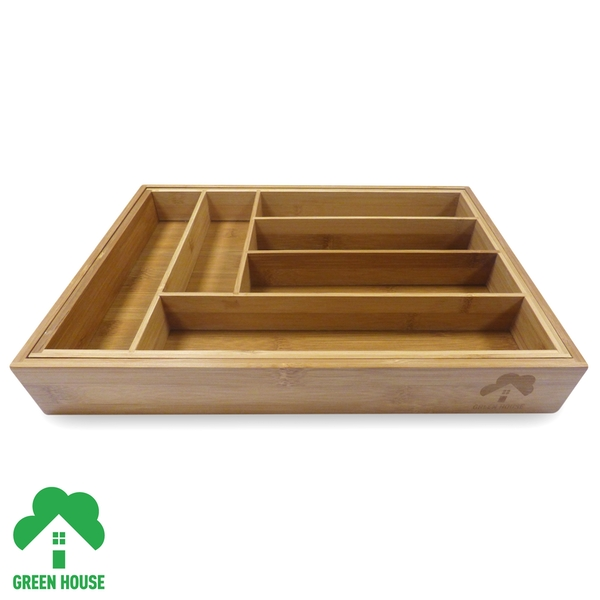 Bamboo Extending Cutlery Drawer Tray With Adjustable Compartments Green House - Image 3