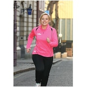 PT Ladies Running L/S 1/4 Zip Top Pink/Black 14 (38inch)