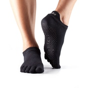 Toesox Bellarina Full Toe Non Slip Socks Black - Large 9-11