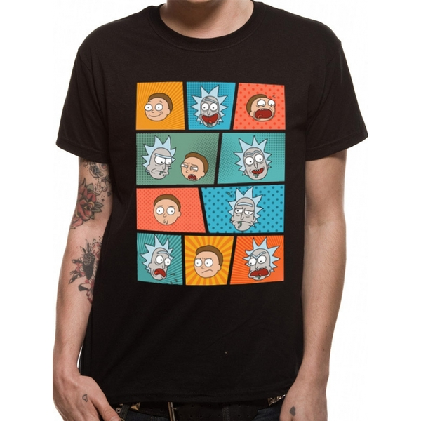 Rick And Morty - Pop Art Faces Men's Large T-Shirt - Black