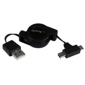 2.5 ft Retractable USB Combo Cable USB to Micro USB and Mini USB   M/M