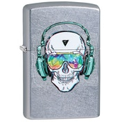 Zippo Skull Headphone Street Chrome Windproof Lighter