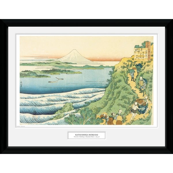 "Hokusai Travelers Climbing a Mountain 12"" x 16"" Collector Print"