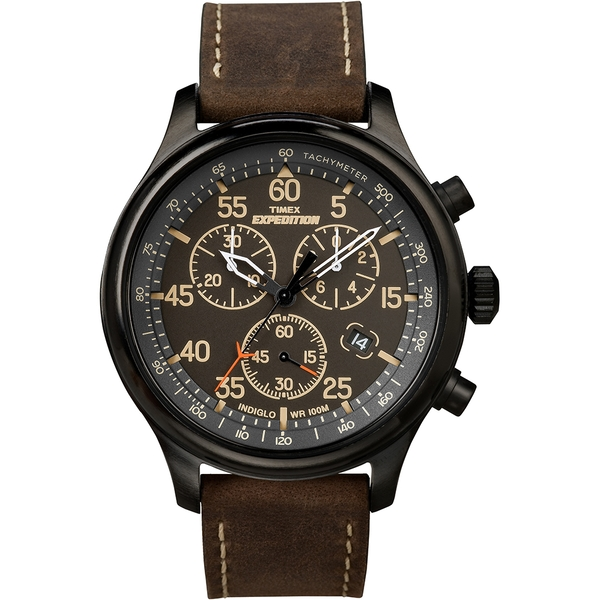 Timex T49905 Expedition Field Chronograph Watch with Brown Leather Strap