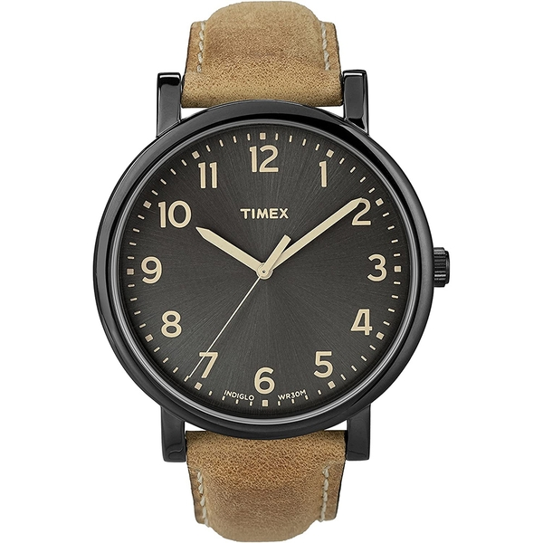 Timex T2N677 Mens Oversized Brown Leather Strap Watch with Black Dial